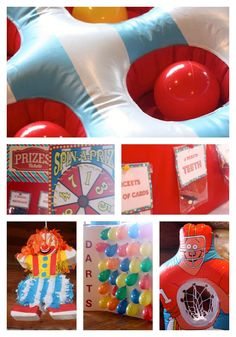 The games!  Typical carnival games all from Oriental Trading Company.  3 in a row, spin a prize, {I made the prize board}  darts, {made by me, balloons and darts purchased through Oriental Trading Company}  clown piñata, and beanbag toss. {not pictured}  The dj's also had them do fun games like musical chairs, pop the balloons, and tons of games involving hula hoops. Great for kids party.