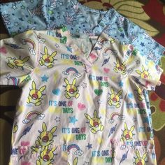 Happy Bunny Scrub Tops Happy Bunny Scrub tops. Worn when I was a secretary at a doctors office so never got dirty. Size small. Tops