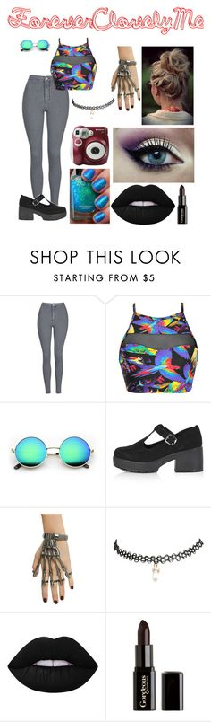 """""""The Actual Black."""" by foreverclovelyme ❤ liked on Polyvore featuring Topshop, Blue Man, Polaroid, Wet Seal, Lime Crime and Gorgeous Cosmetics"""