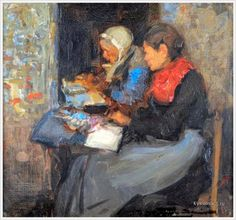 Mark Senior (British, 1862-1927) «Breton Lace Makers»