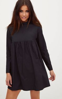 Black Cotton Poplin High Neck Smock DressThis smock dress is the perfect addition to your wardrob. Muslim Fashion, Hijab Fashion, Fashion Dresses, Fashion Fashion, Dress Outfits, Dress Up, Simple Kurti Designs, Mode Hijab, Outfits