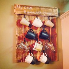 DIY Coffee mug holder out of pallet wood! My cup runneth over..