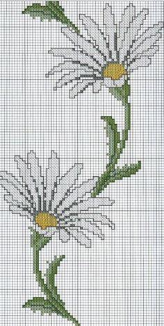 Cross Stitch Borders, Cross Stitch Flowers, Counted Cross Stitch Patterns, Hand Embroidery, Daisies, Cross Stitch Embroidery, Stitches, Towels, Letter Writing
