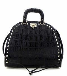 Studded Croc texture Black Satchel