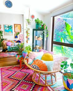 A wee bit of colour to brighten up your day! Still feeling a bit bruised and sore but thank you very much to everyone who wished me well… Colourful Living Room, Boho Living Room, Living Room Decor, Bedroom Decor, Aesthetic Room Decor, My New Room, Home Decor Inspiration, Decor Ideas, Cozy House