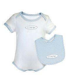 Look what I found on #zulily! Blue & White 'I Love My Papa' Bodysuit & Bib #zulilyfinds