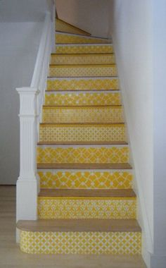 Our Moroccan stencils on stair risers in a sunny yellow. Carol Leonesio was inspired by the black/white stenciled stairs in this post. Spreading the stencil love!