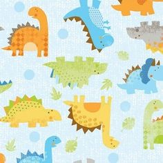 Little Yellow Bicycle - Babysaurus - Dinos All Over in Aqua $8.75/yd   Manufacturer: Blend (106.101.05.03)  Designer: Little Yellow Bicycle  Collection: Babysaurus  Print Name: Big Dino Dots in Red  Weight / Material / Width: Quilting, Cotton, 44/45 inches   Horizontal repeat: 7 inches, Vertical repeat: 9 inches     larger dots are 1/2 inch in diameter