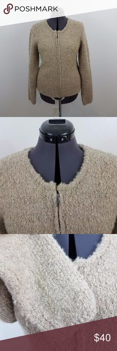 Garnet Hill fuzzy sweater jacket zip mohair wool Garnet Hill fuzzy sweater full zip beige L mohair wool fur jacket tan zipper Size L, see measurements below. Used. No rips, tears, or stains. See photos.  Measurements are taken while item is lying flat.  Length: 25 Inches  Armpit to Armpit: 20.5 Inches Inv AS. garnet hill Jackets & Coats
