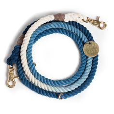 """Indigo Ombre Rope Dog Leash:  Hand dyed and crafted in Brooklyn, NY for adopted animals and their people, our leashes are hand-spliced to withstand thousands of pounds of pull with the ends then """"whipped"""" (an old nautical term) for additional durability."""