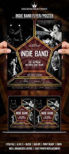 Indie Band Flyer \/ Poster Indie, Event flyers and Font logo - band flyer template