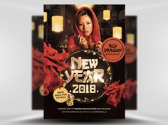 Chinese Lunar New Year Flyer Template features Chinese red dragon statues, Chinese Lanterns, a lucky cat and a subtle Chinatown backdrop. Everything about this template shouts Chinese New Year!