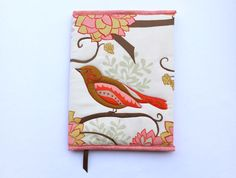 Bird+Fabric+Refillable+Journal+Cover+Peach+Brown+by+CandyKQuilts on Etsy