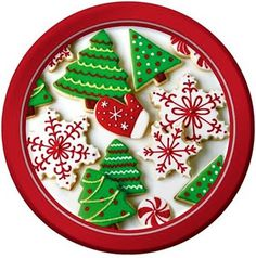 "Custom & Unique {7"" Inch} 8 Count Multi-Pack Set of Medium Size Round Circle Disposable Paper Plates w/ Delicious Holiday Treats Cookies Christmas X-Mas Celebration ""White, Green & Red Colored"""