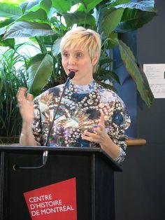 Pénélope McQuade, animatrice du lancement de l'application mobile Musées Montréal, au Centre d'histoire de Montréal, le 18 novembre 2014.