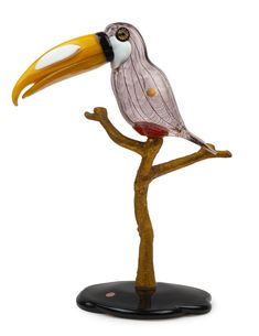 "LICIO ZANETTI ""Toucano"" Murano glass bird statue mounted on gilded bronze branch and glass base, engraved ""Zanetti Licio"", with original… / MAD on Collections - Browse and find over 10,000 categories of collectables from around the world - antiques, stamps, coins, memorabilia, art, bottles, jewellery, furniture, medals, toys and more at madoncollections.com. Free to view - Free to Register - Visit today. #Glass #DecorativeArts #MADonCollections #MADonC Bird Statues, Glass Birds, Murano Glass, Art Decor, Bottles, Mad, Coins, Stamps, Auction"