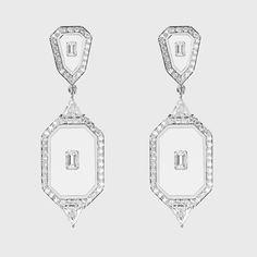 Universe Line Collection — Nikos Koulis Square Diamond Rings, White Diamonds, White Gold Rings, Gold Earrings, Universe, Enamel, Collection, Gold Stud Earrings, White Gold Wedding Rings