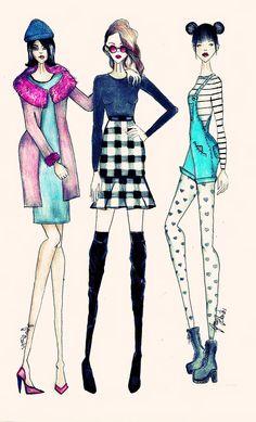 CROQUI DE MODA: Amigas fashion, inverno. #CROQUIANDO
