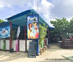 Front of Pop's place Curacao, review on cakesandpumps.com