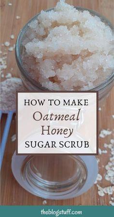 Salt Scrub Recipe, Body Scrub Recipe, Diy Body Scrub, Diy Scrub, Honey Sugar Scrub, Sugar Scrub Homemade, Homemade Skin Care, Body Scrub Sugar, Homemade Oatmeal