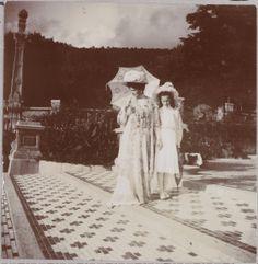 Alexandra and Tatiana in the gardens of the Massandra Palace.
