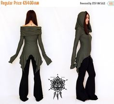 ON SALE Hikari Cowl neck tunic. Pointy hooded by AbstractikaCrafts Festival Mode, Festival Dress, Psytrance Clothing, Pixie Outfit, Goth Dress, Punk Dress, Cowl Neck Dress, Hooded Dress, Mode Outfits