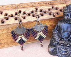 Macrame Boho Earrings 'MUSKAAN'. Gypsy Brass Tribal Bohemian Jewelry. Ethnic Earthy Earrings.