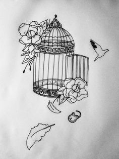 Bird Cage Sketch   In Progress Cage Tattoo Commission by nimroderriver