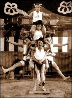 Female Sumo Wrestlers Playing Around. Okinawa Soba, via Flickr. early 1900's