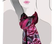 Fuchsia Pink  Roses and black, hand painted silk scarf:  Smoldering Fuschia Roses