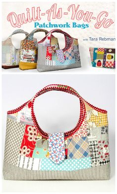 Quilt as you go patchwork bags. Video class shows how to sew cute patchwork bags including the tinker tote bag and other variations.