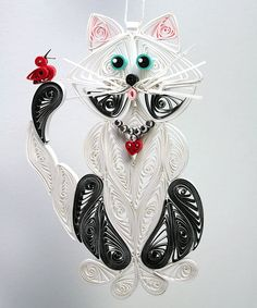 Quilled black & white cat ornament