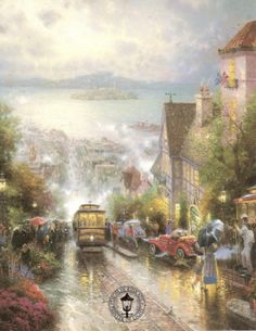 How well I remember riding the cable car on my first visit to San Francisco and glimpsing the magnificent panorama of the Bay. I remember the famous Ghirardelli Chocolate sign, the vibrant activity of Fisherman's Wharf, the dramatic presence of distant Alcatraz Island. But most of all, I remember the magnificent Bay.     -- Thomas Kinkade