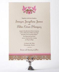 Mi Amor Letterpress Wedding Invitation