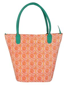 Orange printed with kantha casual cotton shoulder bags women hand bag