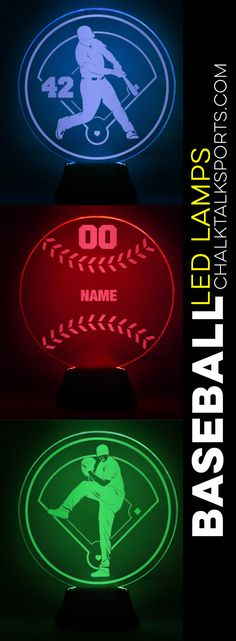 A custom engraved baseball LED lamp is a great accessory for any player's room. Choose your name, number, team name, or choose them all! Baseball Lamp, Baseball Room Decor, Gifts For Baseball Players, Personalised Frames, Custom Pillow Cases, Room Signs, Team Names, Led Lamp, Custom Engraving