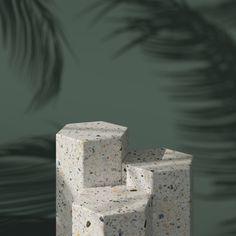 Abstract green background with geometric hexagon shape terrazzo podium for product. Bellatrix, Terrazzo, Display Design, 3d Design, Minimal Photography, Hexagon Shape, Green Backgrounds, Photo Backgrounds, 3d Rendering