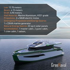 #GreeNaval #GN45 #GreeNavalGN45  GN45 was designed for large families who care environment and their budgets. ‪#‎GN45‬ has 20 N.m. daily range and is able to cruise 2 hours by solar panels. In addition, thanks to DC generator, GN45 has 2.000 N.m range with 6 knots speed. www.greenaval.com
