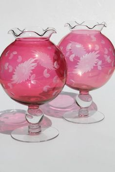 vintage ruby cranberry red stain glass globe vases, pair wheel cut etched glass ivy balls