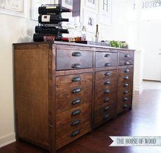 DIY Restoration Hardware Printmakers Sideboard - free plans and tutorial! #restorationhardware #sideboard #cabinet #barcabinet #tutorial #buildit #buffet