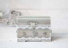 Ring Bearer Box, Wedding Ring Box, Rustic Vintage Wedding Ring Holder, Pillow Bearer Box by SimplyCosyMBA on Etsy