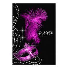 Elegant Black and Hot Pink Masquerade Party RSVP Custom Invitation