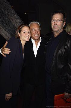 Giorgio Armani, Eric Clapton and his wife