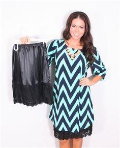 Black Lace Skirt Extender, Modest Dresses, Church Dresses, lds, lds clothing, skirt extender, chevron, chevron print, mint, mint chevron, mint chevron dress, peach and mint dress, modesty standards