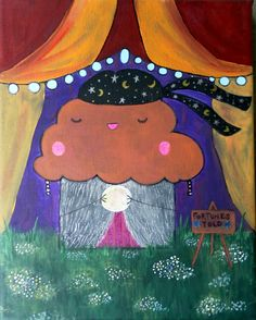 Cute Gypsy Muffin Painting   Kawaii Fortunetelling by SqueeManor, $30.00
