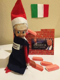 Adult Elf on the Shelf: Donald Trump building a wall