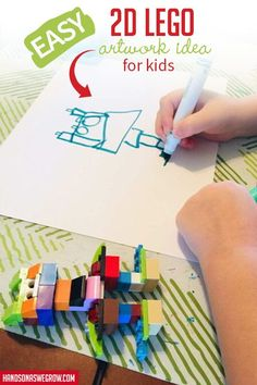 Playing with LEGOs two ways is twice as much fun! I can't wait to try this idea with my kids! Stem Projects For Kids, Art Activities For Kids, Easy Art Projects, Preschool Art, Toddler Activities, Art For Kids, Steam Activities, Kids Fun