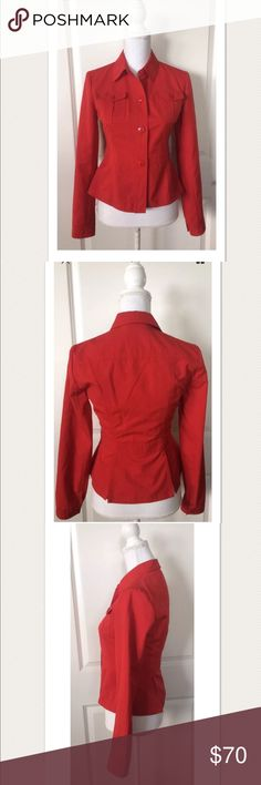 "MIU MIU Women's Lightweight Red Blazer ~Size 42~ MIU MIU Women's Lightweight Red Blazer ~Size 42~  100% Authentic!  Nice, gently worn. Very good pre owned condition!  Red, NO fading Long sleeve Button front closure  Button pockets Splits on center of back  Unlined Polyester/Rayon  Size 42  Measures approximately: total length 20.25"" bust across 16.75"" sleeves 16.75""  PRICED TO SELL FAST! PLEASE ASK ANY QUESTIONS BEFORE PURCHASE, THANKS CHECK OUT MY OTHER DESIGNER HANDBAGS AND CLOTHING! Miu…"