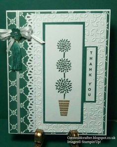 'Vertical Greetings' stamped with 'Tranquil Tide' ink, Embossing done with Garden Trellis Embossing folder, fancy edge made using, Stampin'Up! Good Morning Ladies, Garden Trellis, Embossing Folder, Stampin Up Cards, I Card, Christmas Cards, Fancy, Ink, Frame
