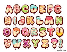 Donut font - Buy this stock vector and explore similar vectors at Adobe Stock Alphabet Design, Hand Lettering Alphabet, Doodle Lettering, Creative Lettering, Graffiti Lettering, Lettering Styles, Lettering Design, Food Alphabet, Doodle Fonts